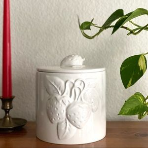 Vintage Ceramic Canister with 3D Strawberries